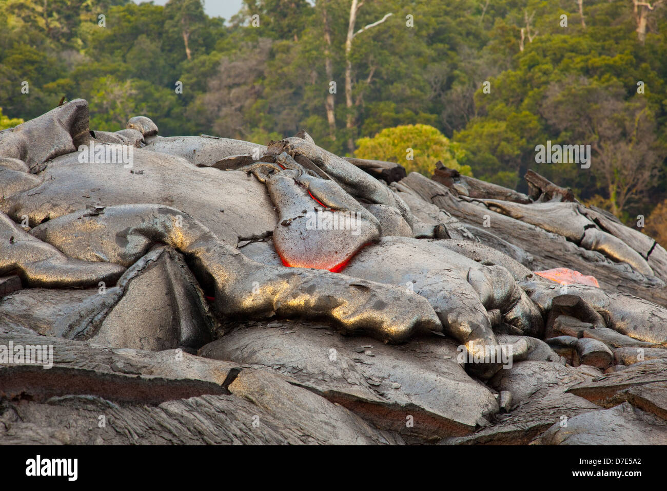 Lava flowing on the Big Island of Hawaii - Stock Image