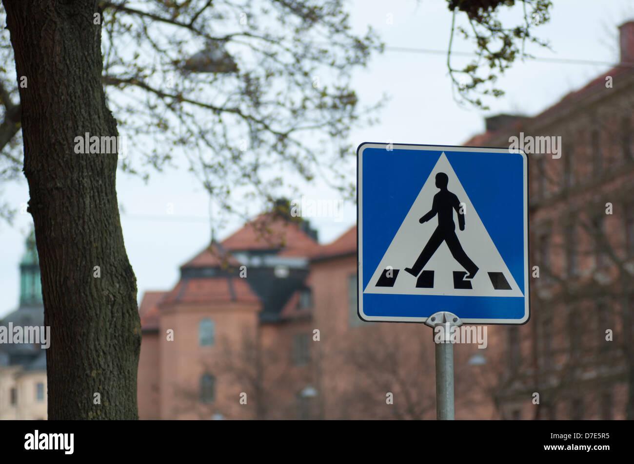 Pedestrian Crossing Sign In Central Stockholm Sweden