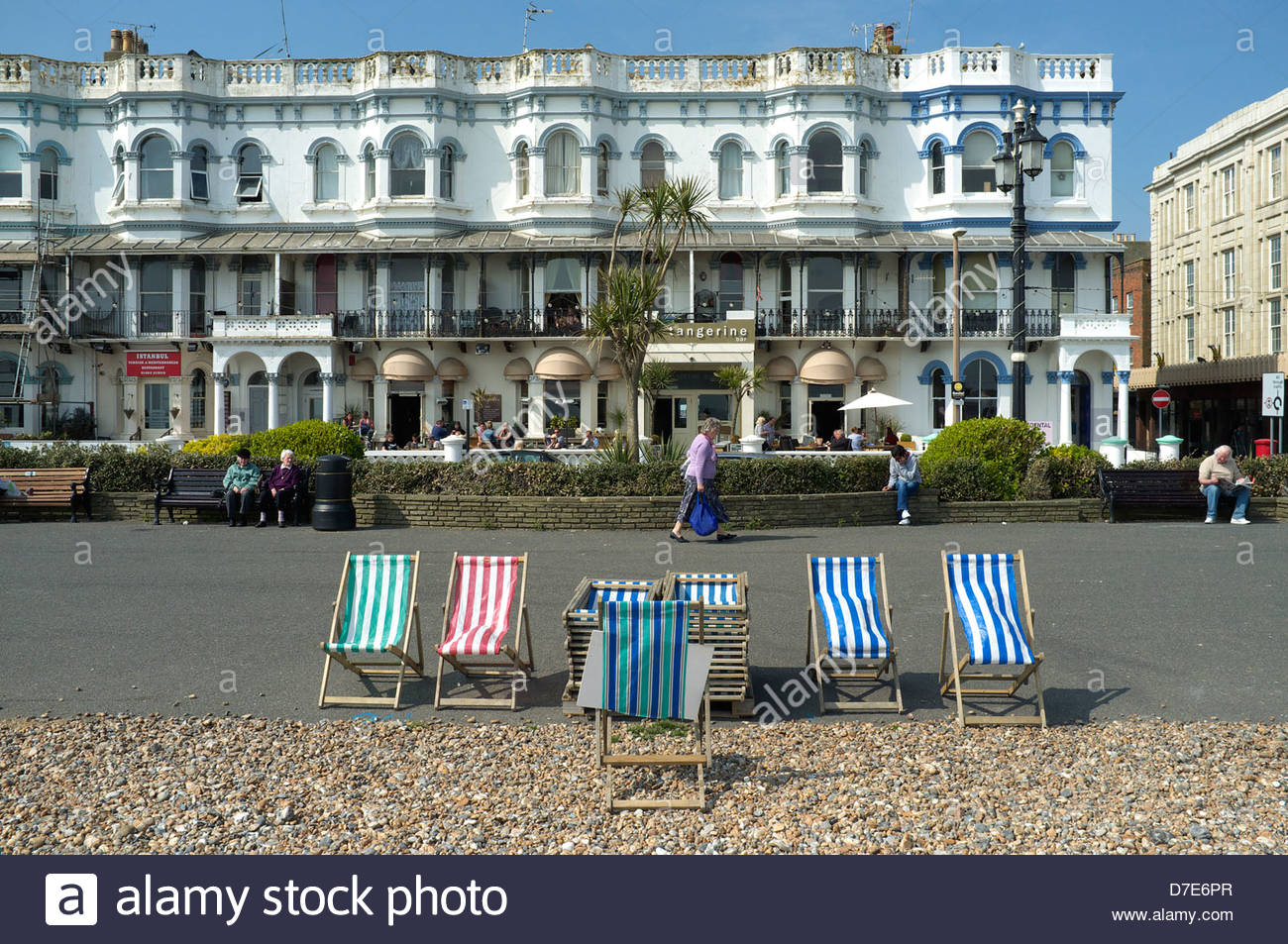 Worthing seafront in West Sussex, UK. - Stock Image