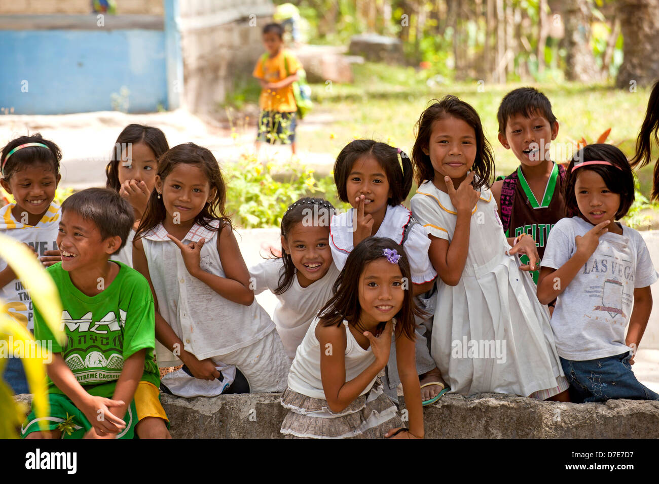 Happy girls at a school in Port Barton, Palawan Island, Philippines, Asia -