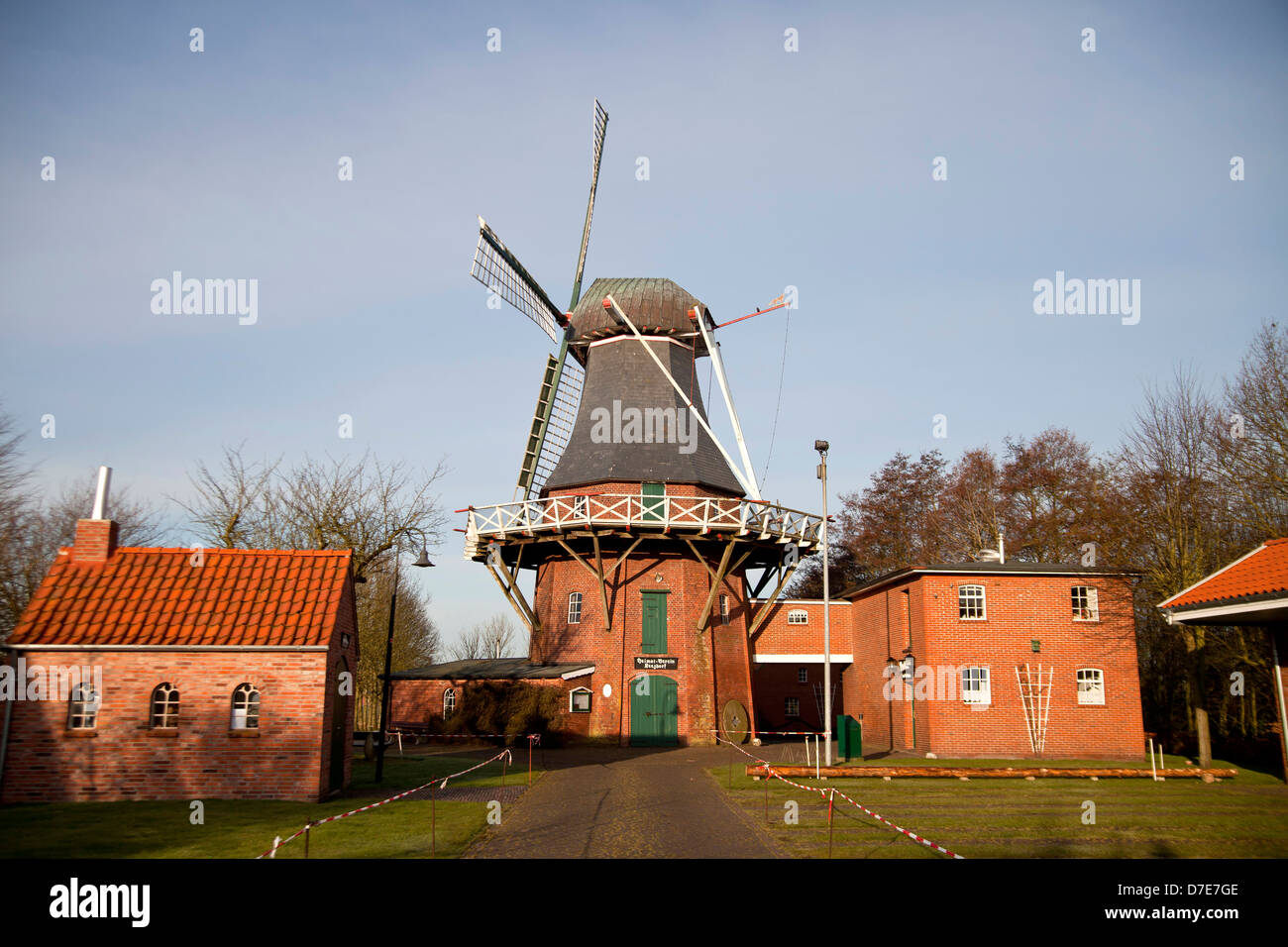 Windmill in Leezdorf, East Frisia, Lower Saxony, Germany, Europe - Stock Image
