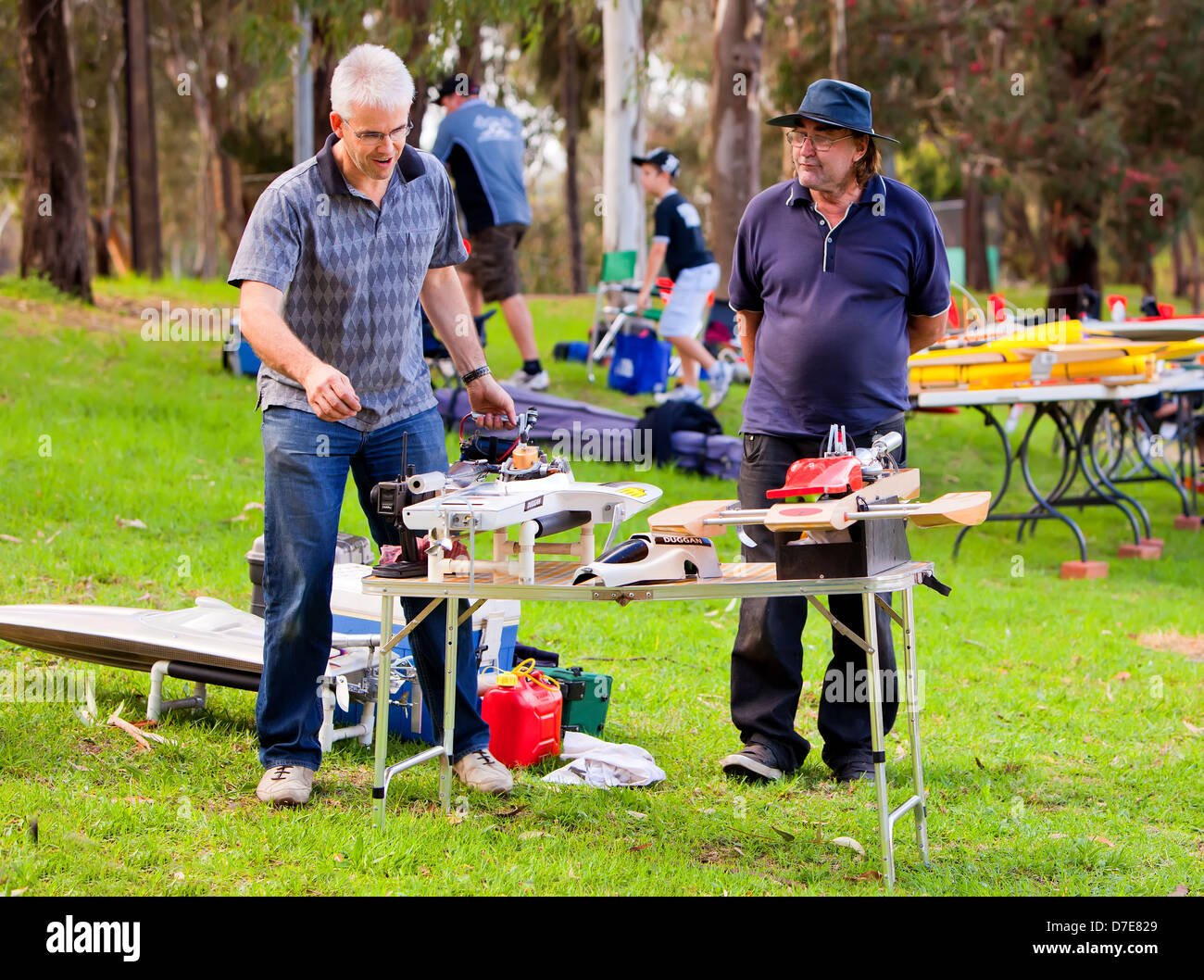 Members of the Adelaide Radio Controlled Speedboat club prepare for a days activity on the Torrens River in the - Stock Image