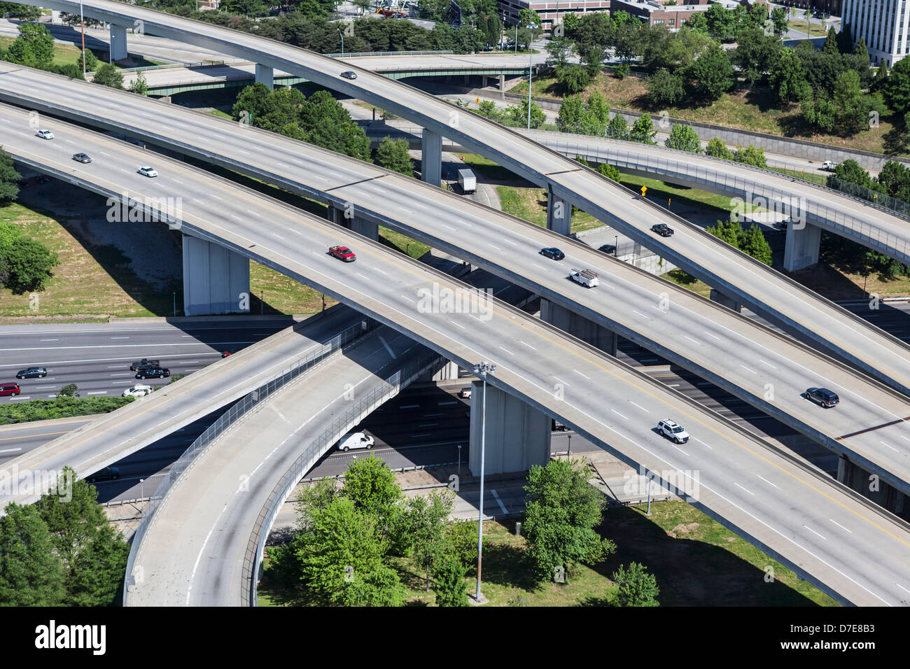 Sprawling suburban freeway interchange aerial in Atlanta Georgia. - Stock Image