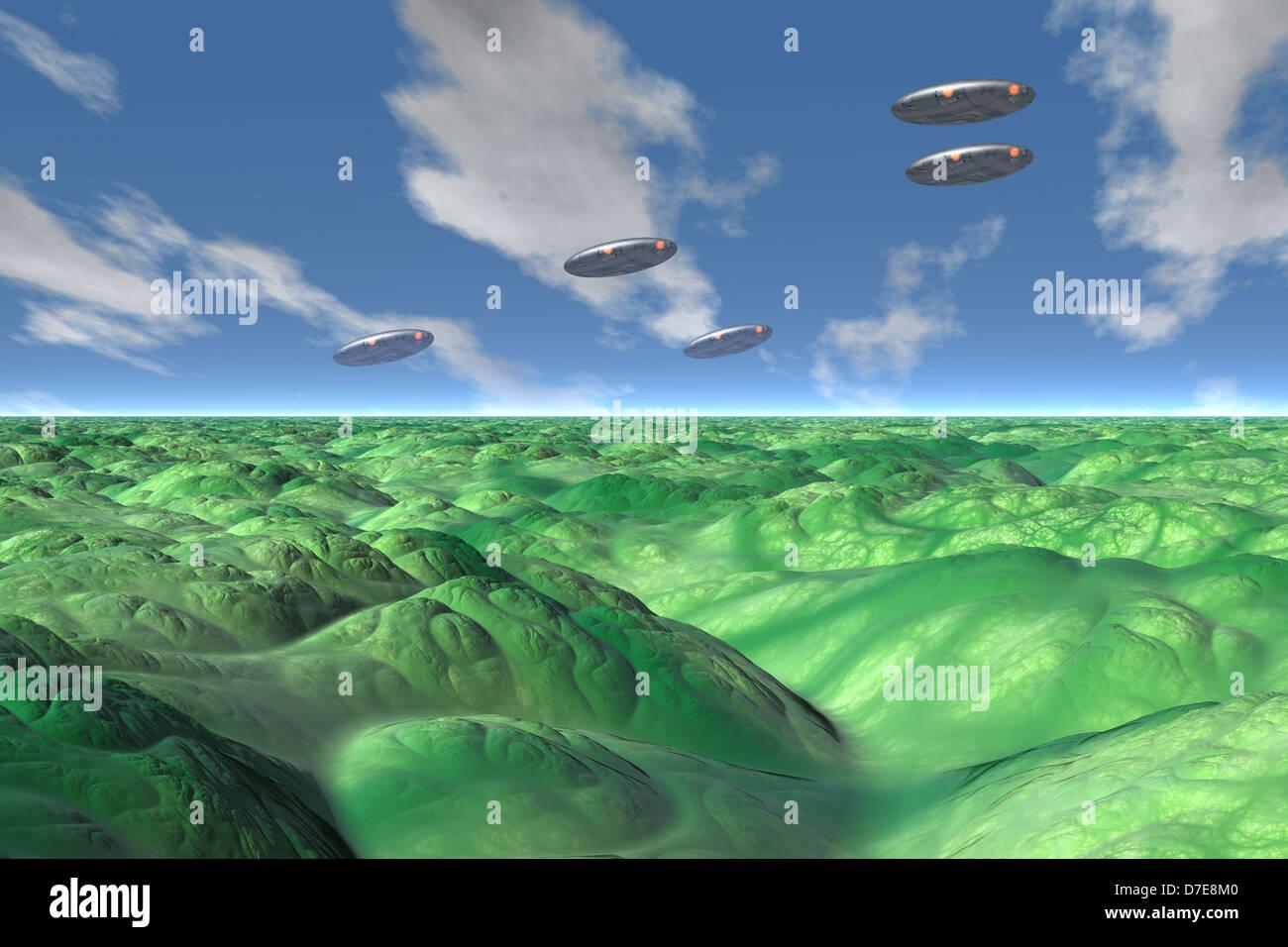 Alien world computer illustration - Stock Image