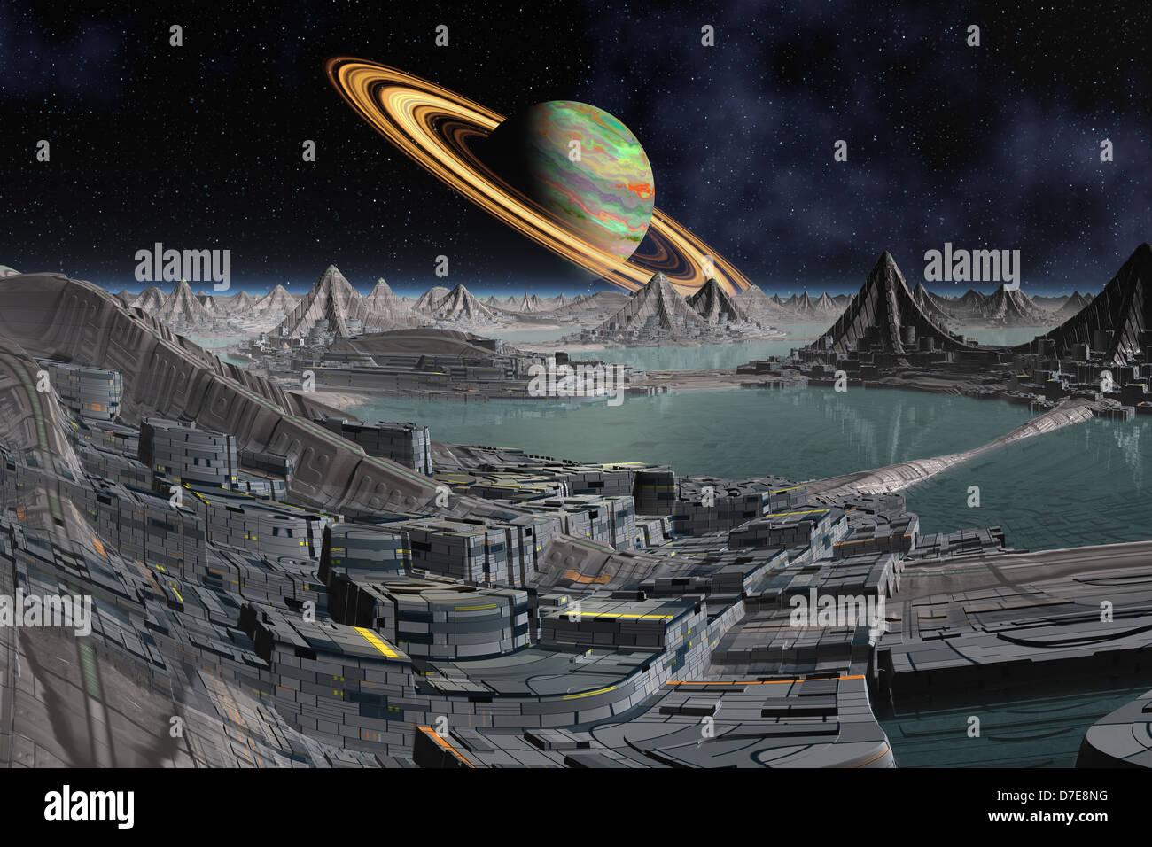 Alien world computer illustration Stock Photo