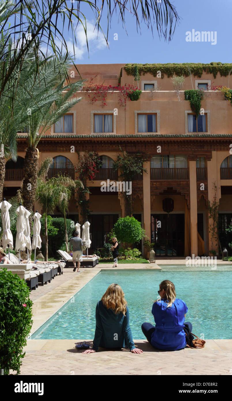 Morocco Marrakesh Jardin Du Koutoubia Hotel And Pool Stock Photo