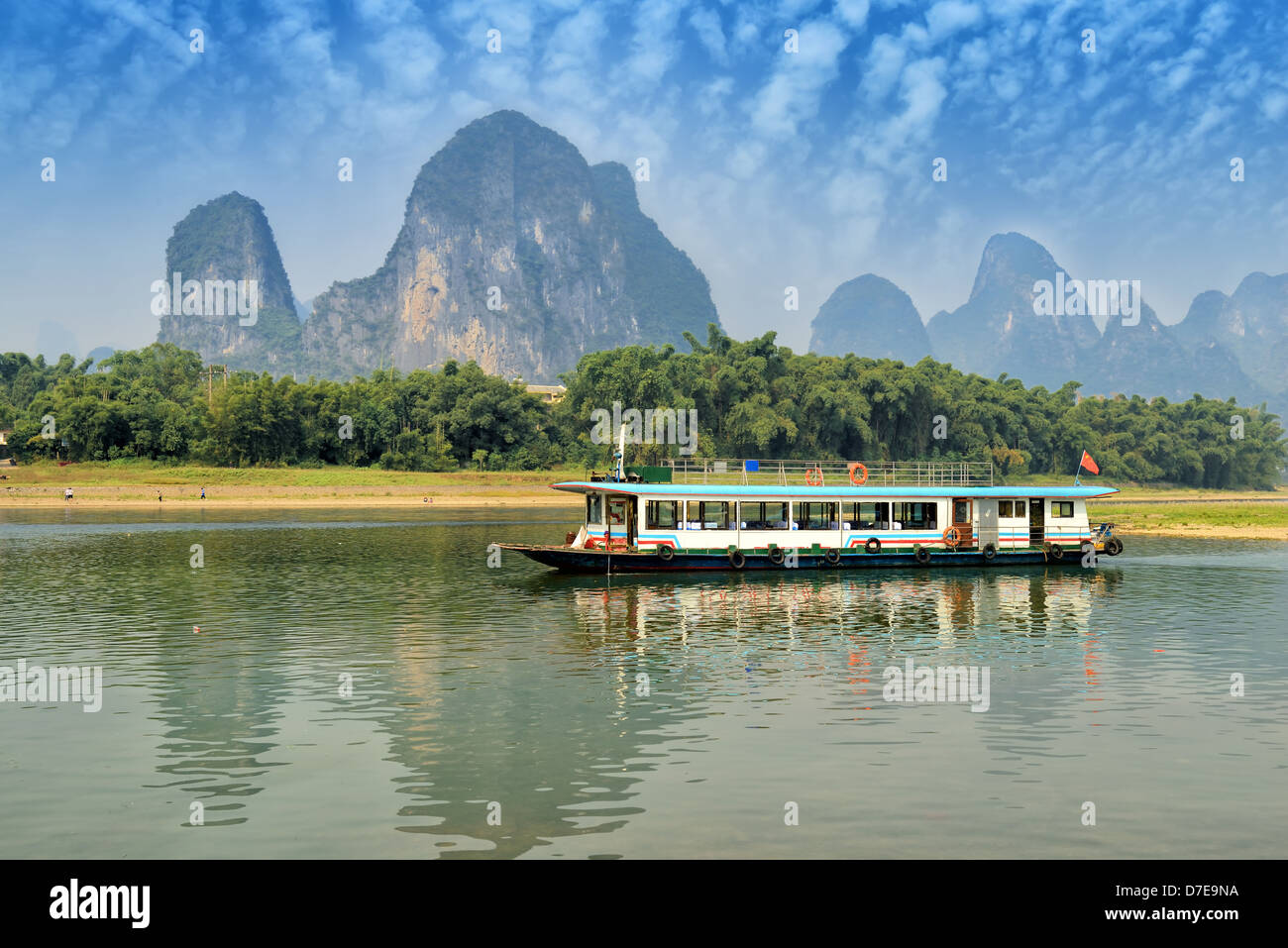 Bamboo raft at the Ulong river near Yangshuo, Guanxi province, China Stock Photo