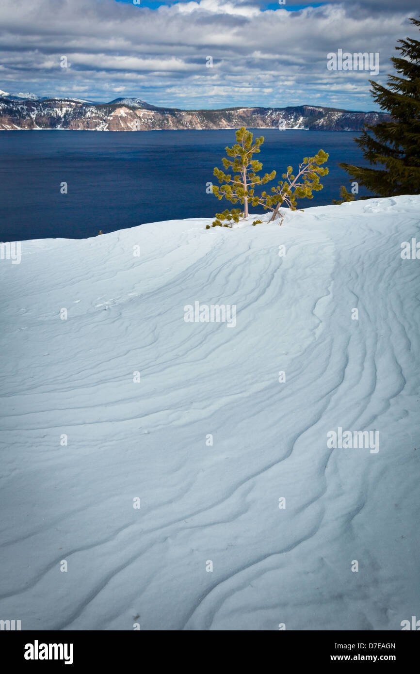 Crater Lake National Park, located in southern Oregon, during winter Stock Photo