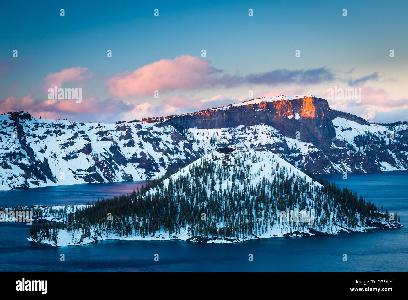 Crater Lake National Park, located in southern Oregon, during winter - Stock Image