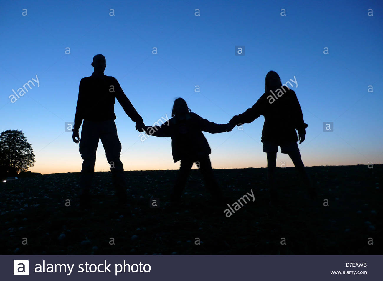 Silhouette of a family enjoying in a park - Stock Image