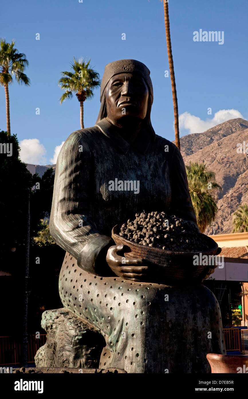 Agua Caliente indian statue in Palm Springs, California, United States of America, USA - Stock Image