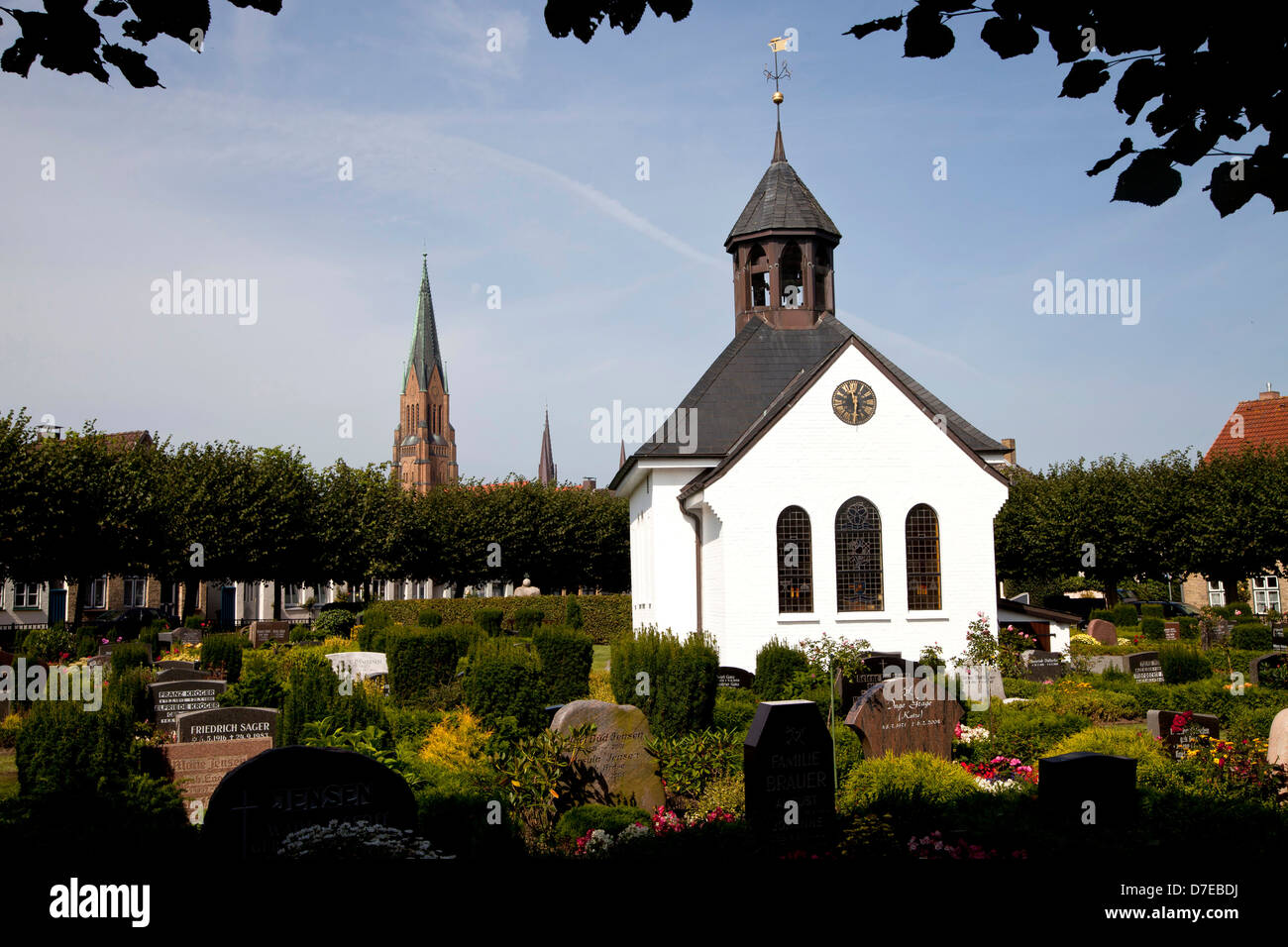 Holm Chapel, cemetary and Schleswig Cathedral, Schleswig, Schleswig-Holstein, Germany, Europe - Stock Image