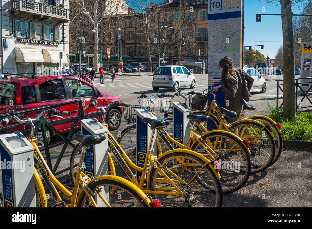 Europe Italy Piedmont Turin municipal bicycles for hire on the streets of the city - Stock Image