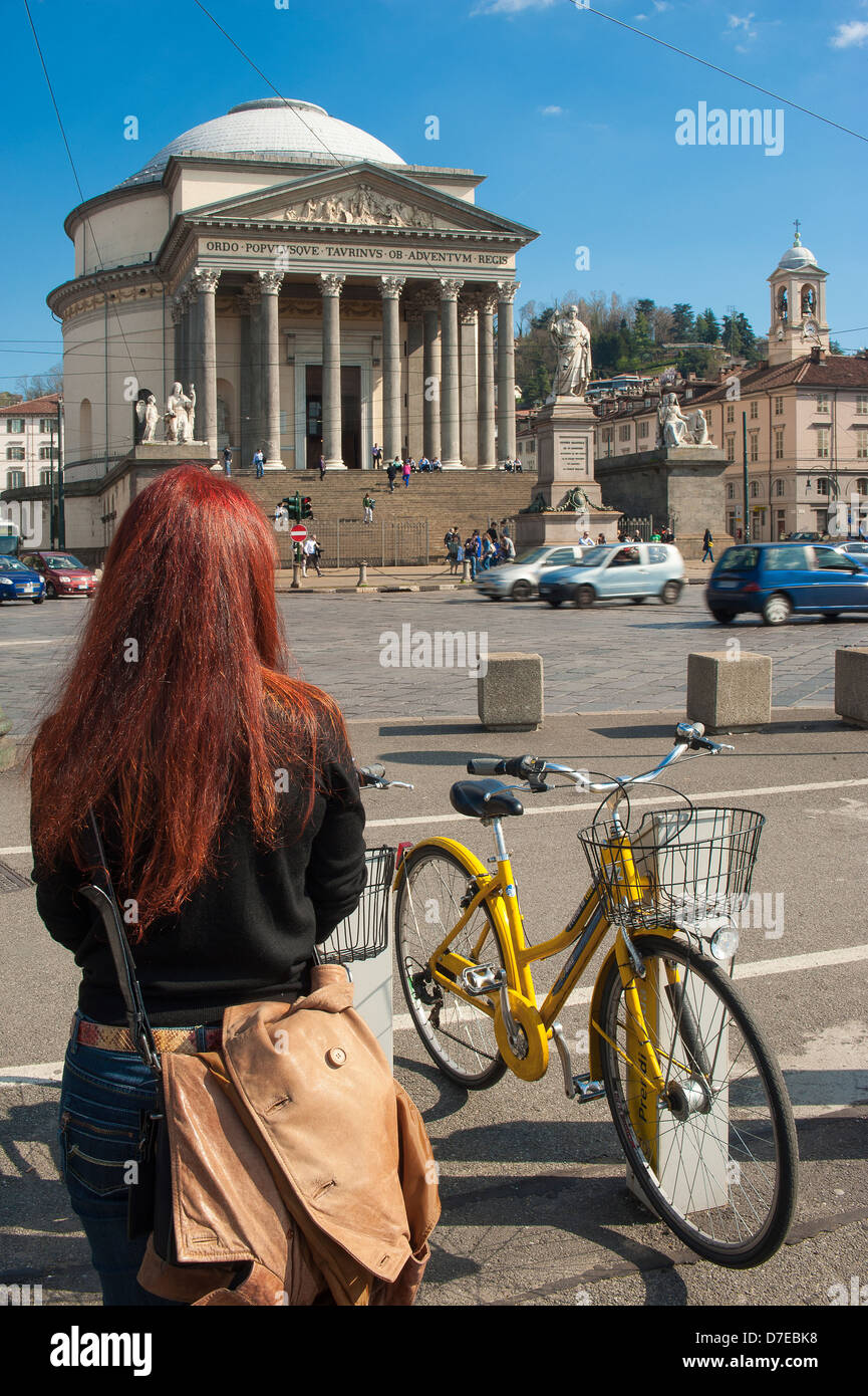 Europe Italy Piedmont Turin Piazza della Gran Madre With girl , Cycle , Traffic and in background Church of Gran - Stock Image