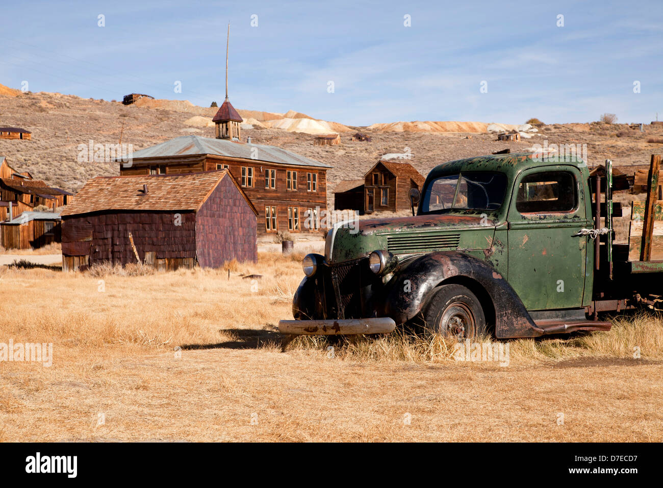 abandoned cars at the ghost town Bodie, California, United States of America, USA - Stock Image