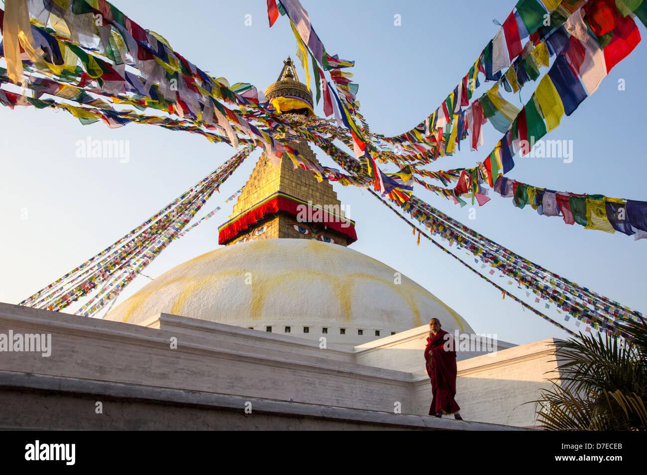 Boudhanath Stupa, Kathmandu, Nepal - Stock Image