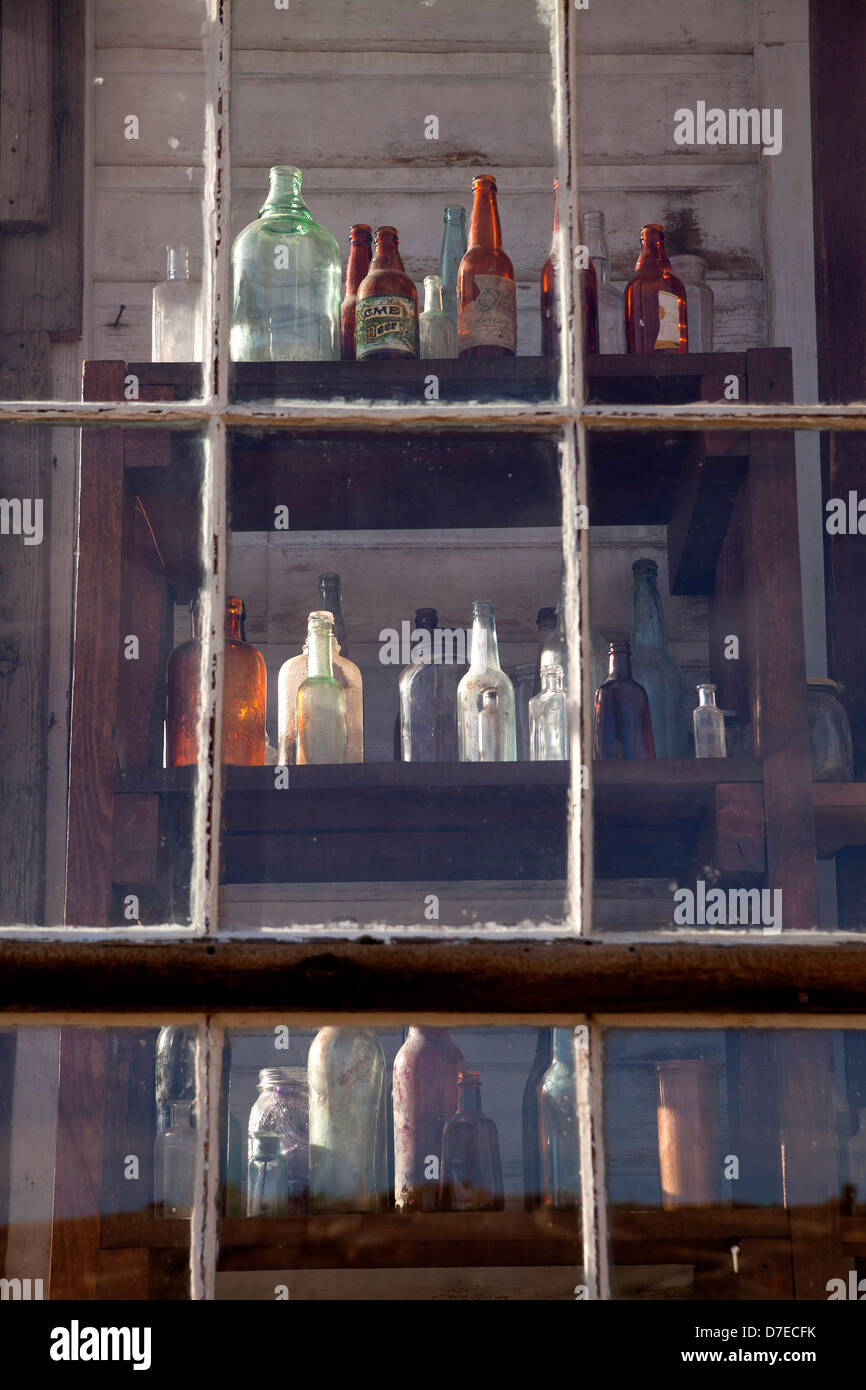 old bottles at the saloon, ghost town Bodie, California, United States of America, USA - Stock Image