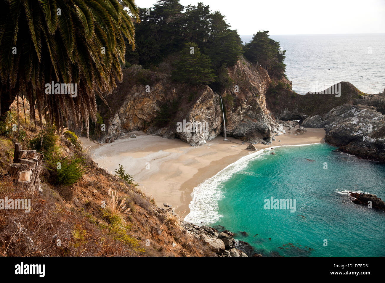 McWay Cove with Waterfall, Julia Pfeiffer Burns State Park on the coast of Big Sur, California, United States of - Stock Image