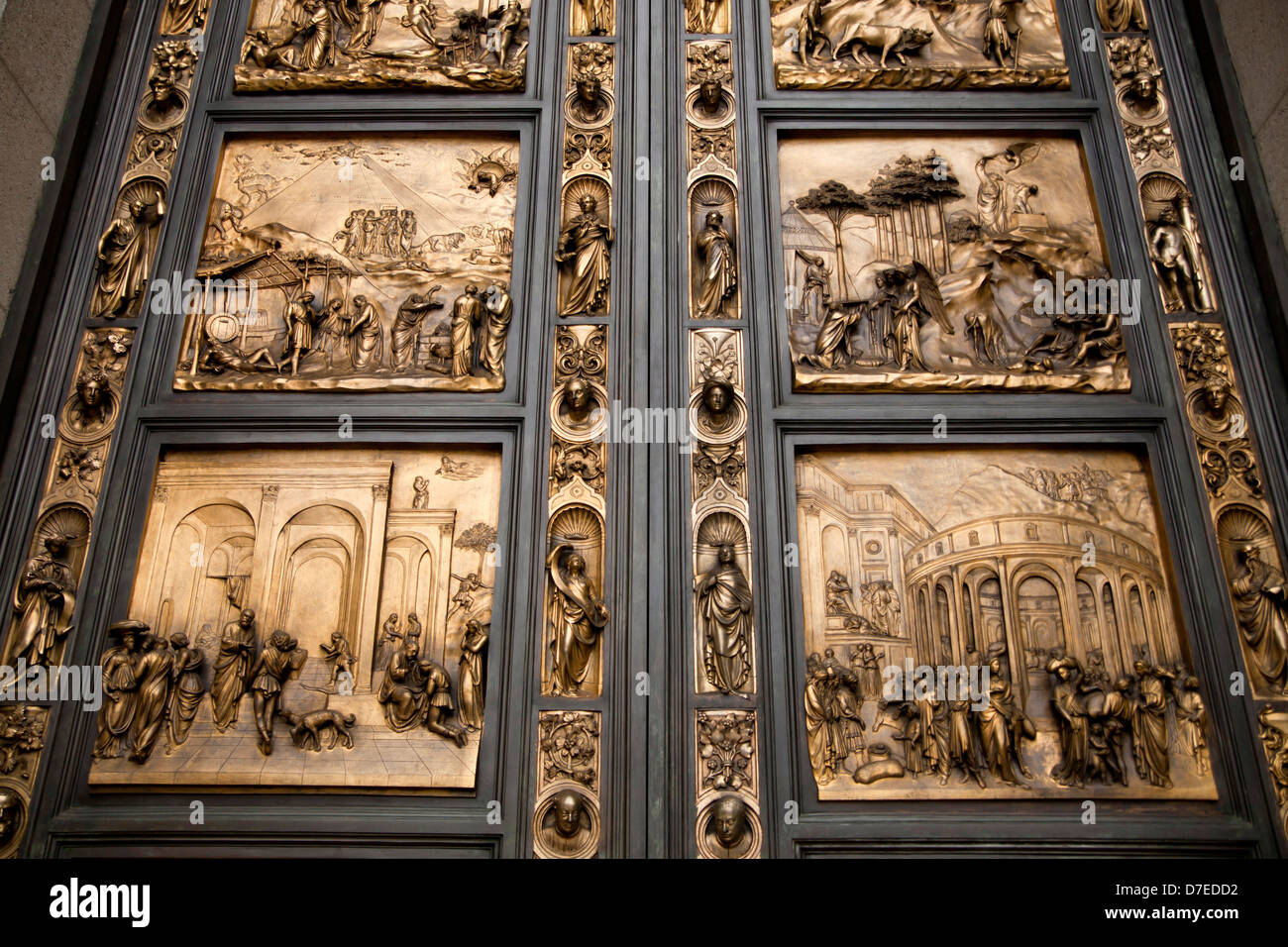 detail of the Ghiberti doors or Gates of Paradise at Grace Cathedral San Francisco California United States of America USA & detail of the Ghiberti doors or Gates of Paradise at Grace Cathedral ...