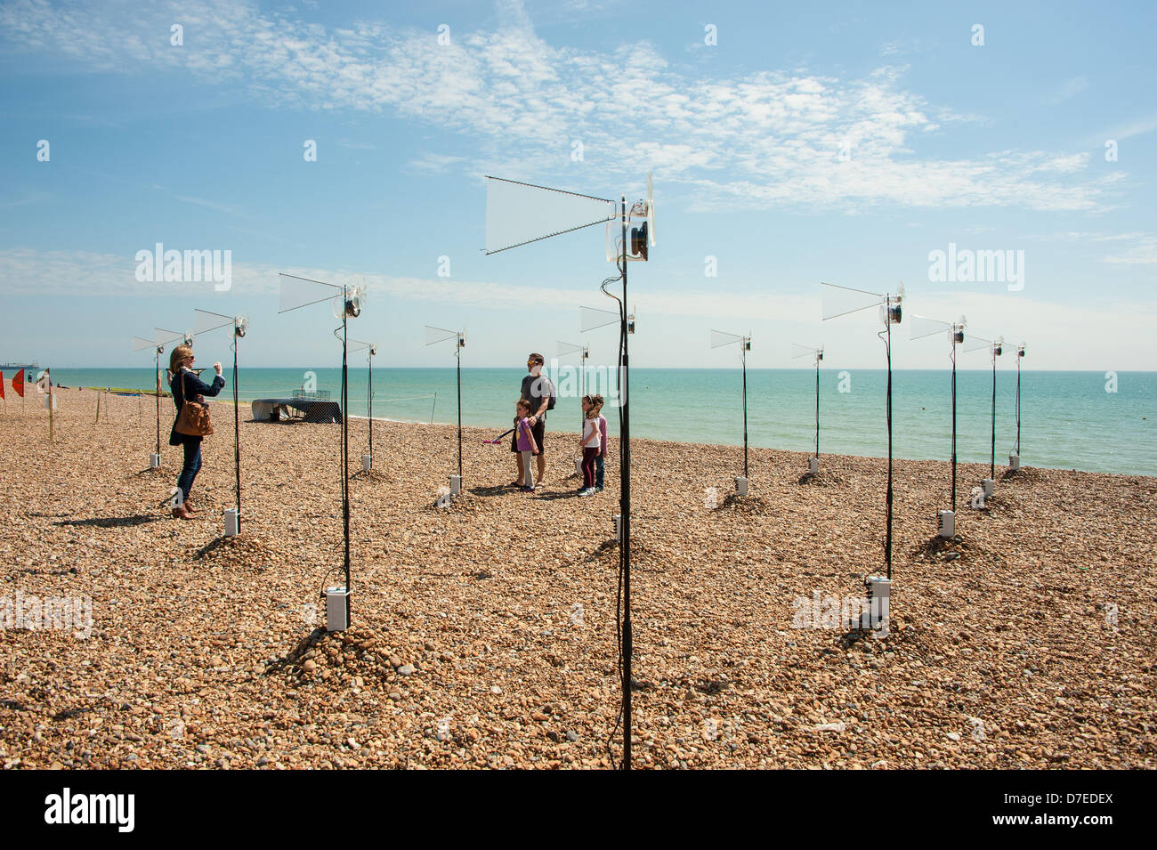 Brighton, UK. 5th May 2013. Mark Anderson's Phantom Field - part of 'Audible Forces' Aeolian music on - Stock Image