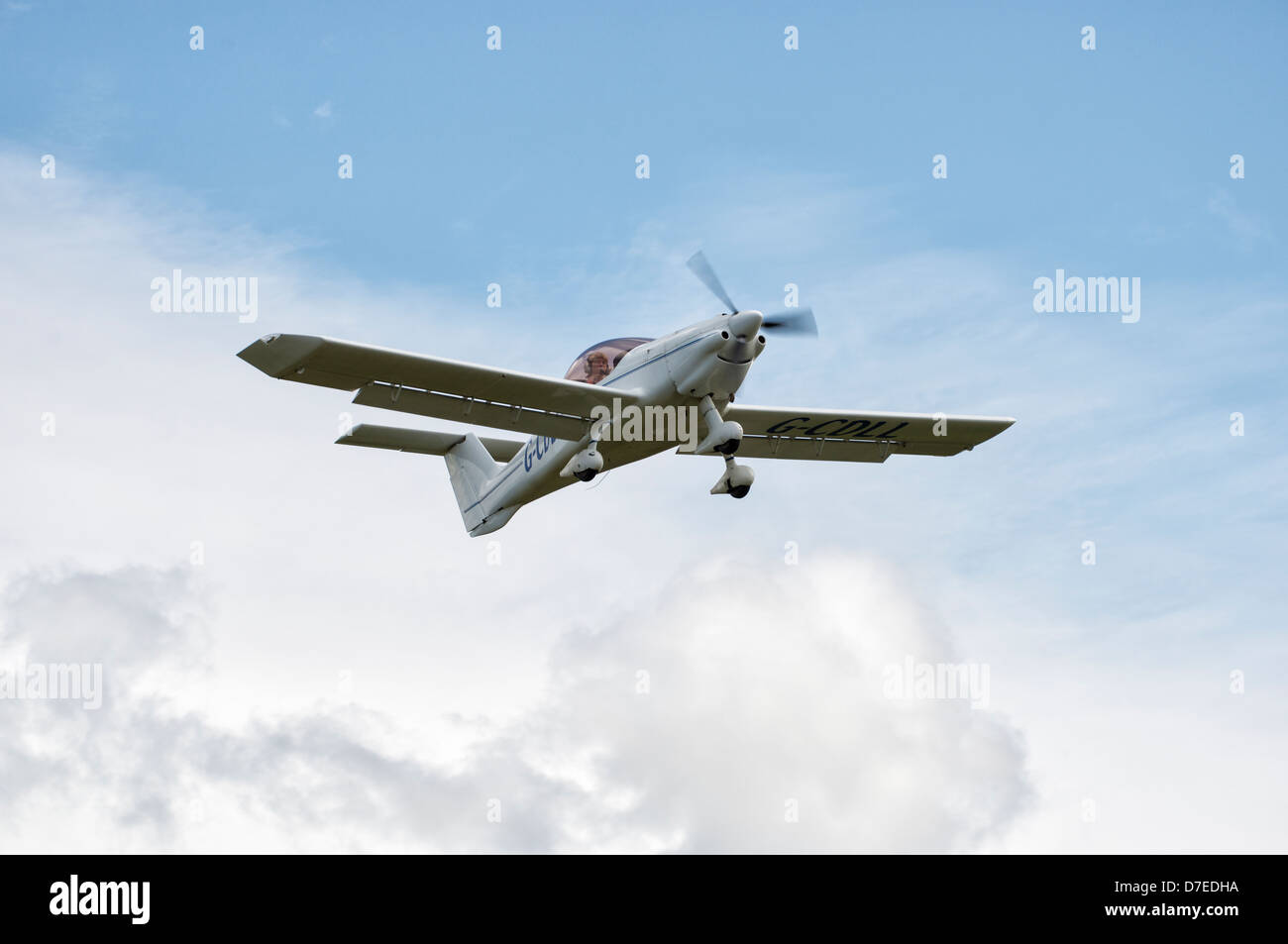 MCR-01 Banbi Microlight G-CDLL departs Popham airfield near Basingstoke Hampshire - Stock Image