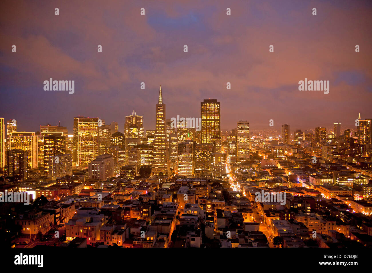 Downtown San Francisco Skyline Seen From Coit Tower California