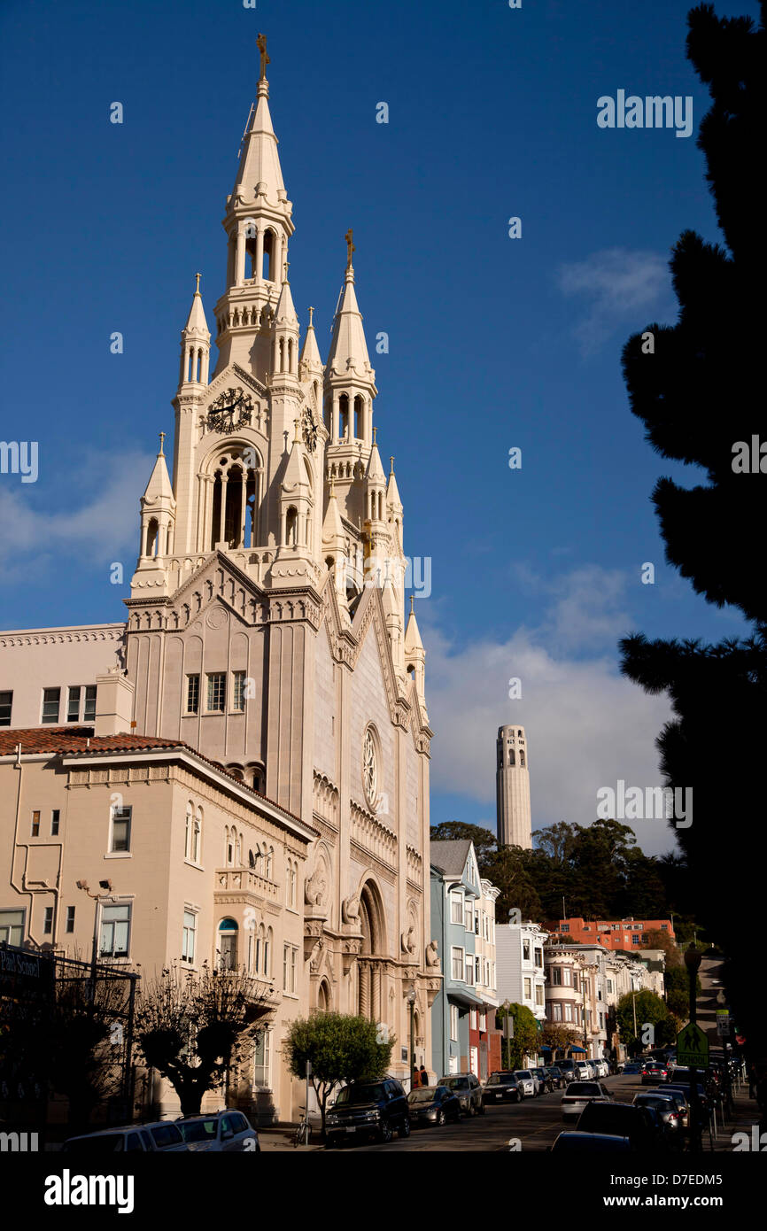 Saints Peter and Paul Church, San Francisco, California, United States of America, USA - Stock Image