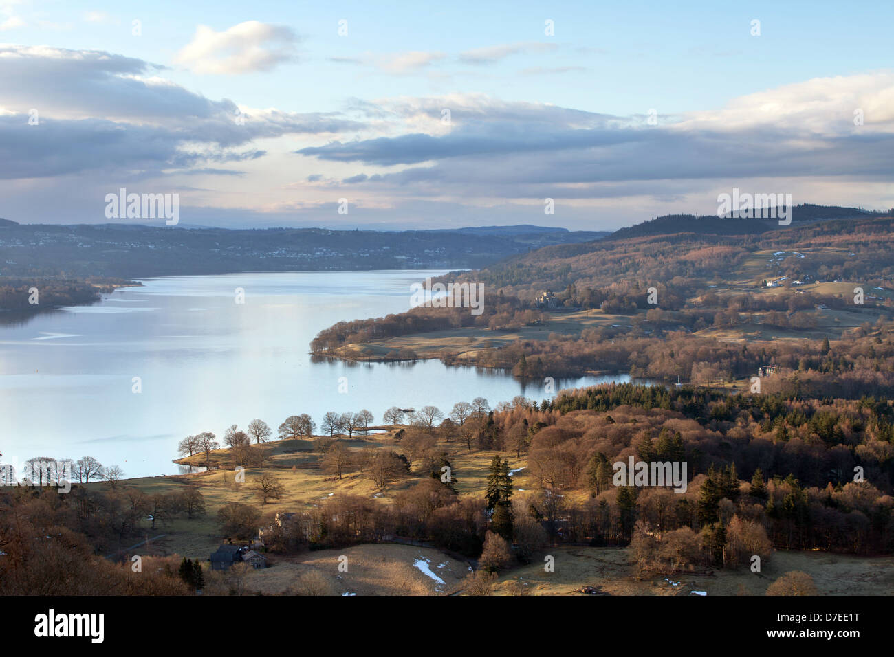 Early morning aerial view of Lake Windermere from Todd Crag, Lake District, England, UK - Stock Image