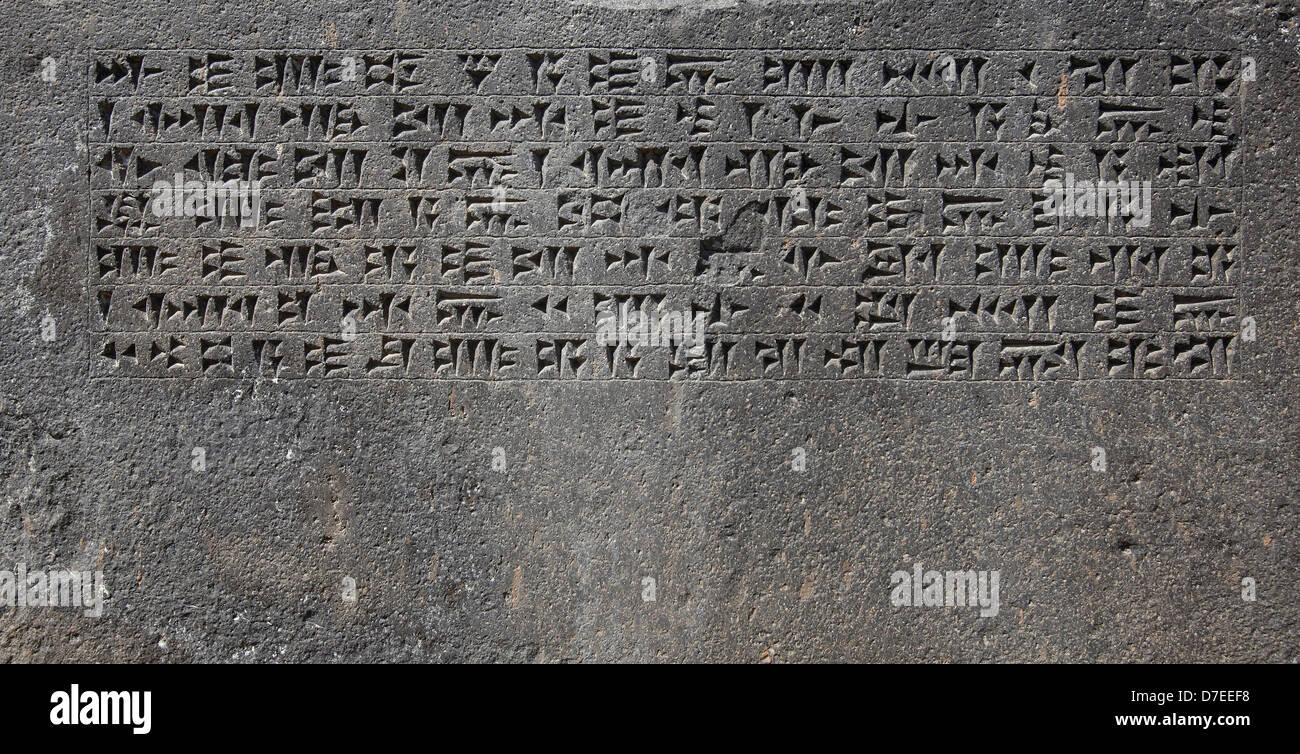 Ancient Urartu cuneiform from Erebuni castel - Stock Image