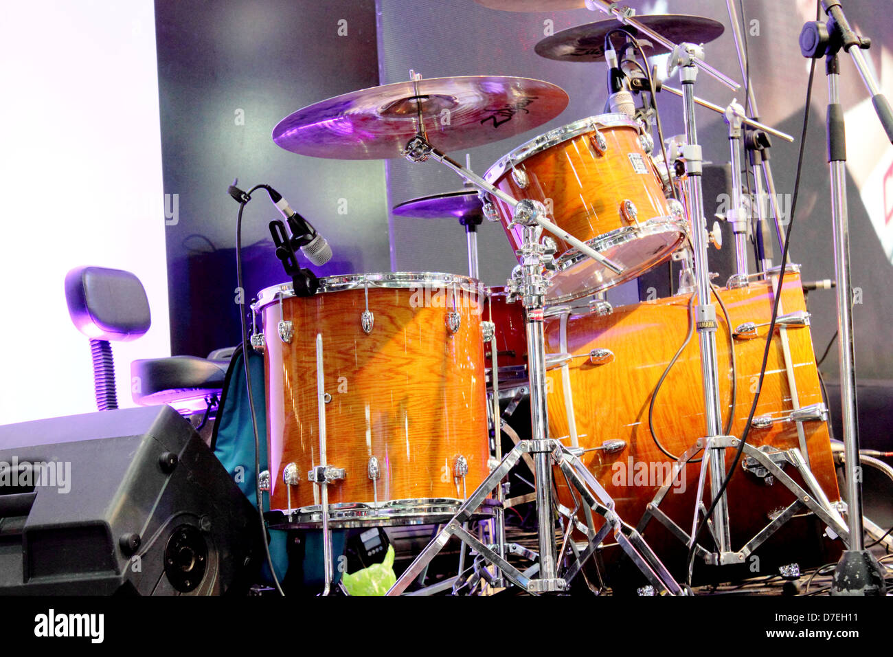 Concert Stage Set Up With A Drum Set Stock Photo 56254381 Alamy