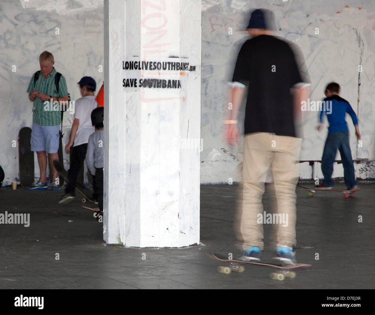 London, UK. 6th May 2013. The skateboarding park in the undercroft on London's South Bank arts centre is threatened Stock Photo