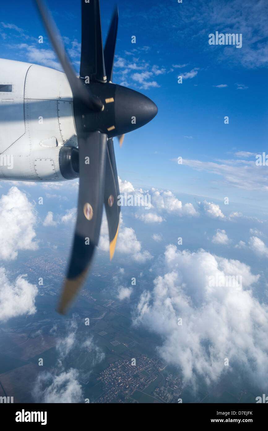 View from propeller aircraft - Stock Image