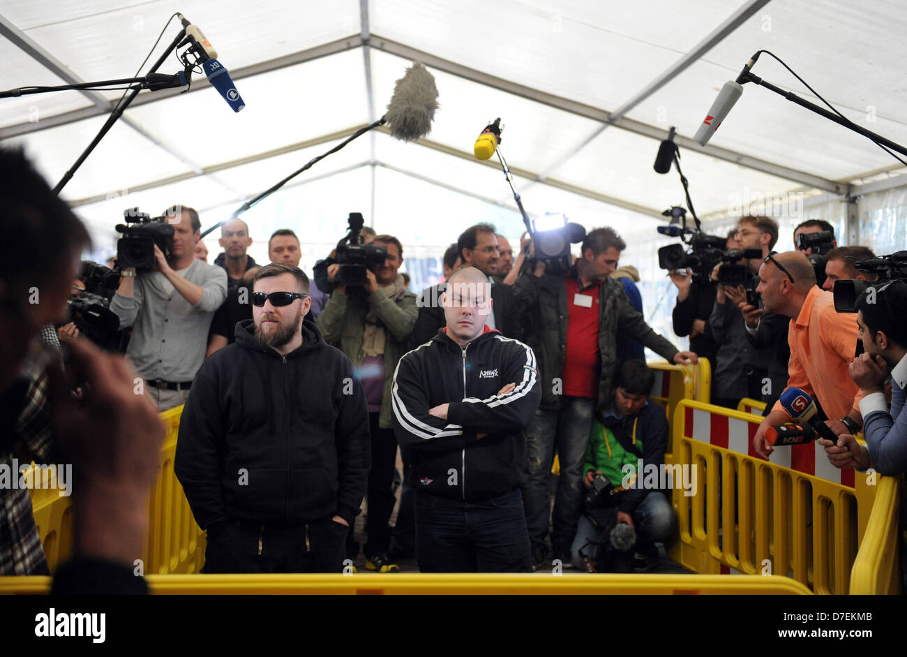 The sympathizer of neo-Nazis, Karl-Heinz Statzberger (R)and an unidentified companion arrive as audience members Stock Photo