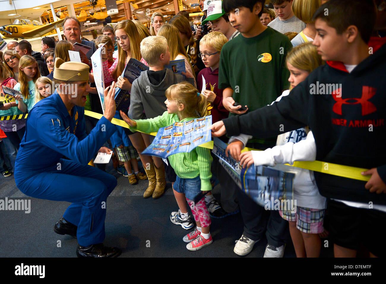 Blue Angels pilots meet fans. Stock Photo