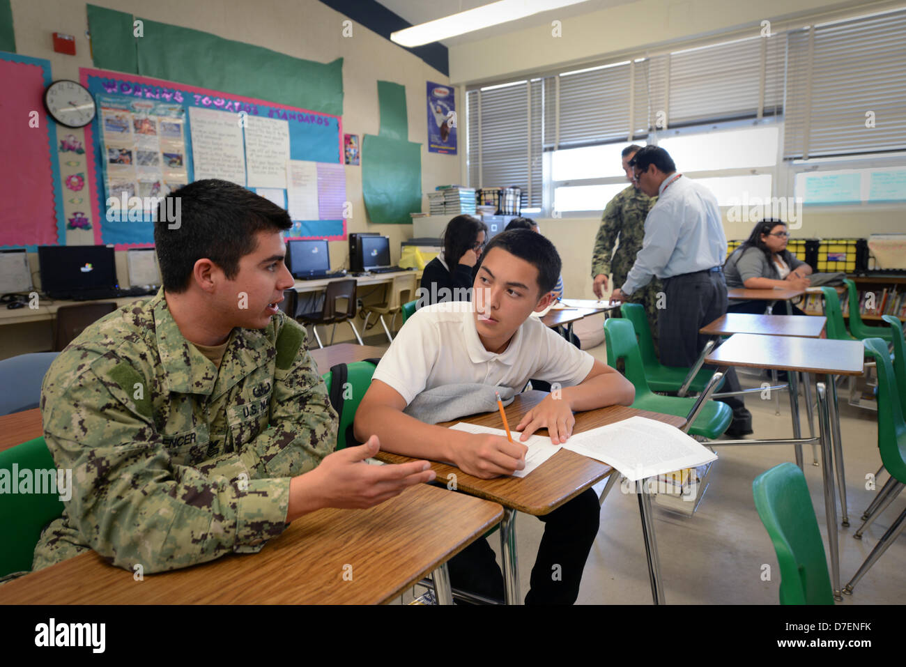 Sailors perform community service. - Stock Image