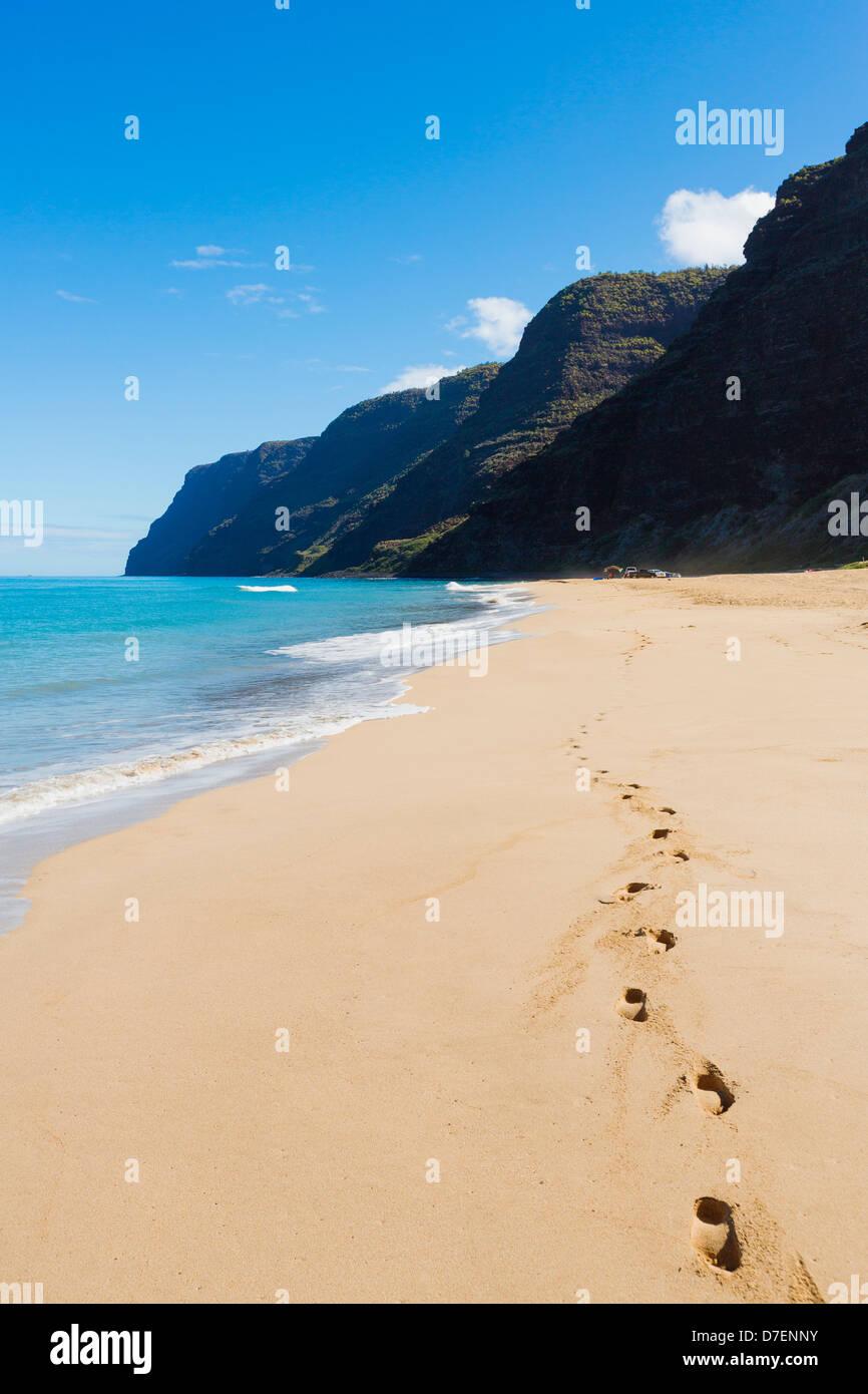 Hawaii, Kauai, Polihale Beach, Footprints in sand. Stock Photo