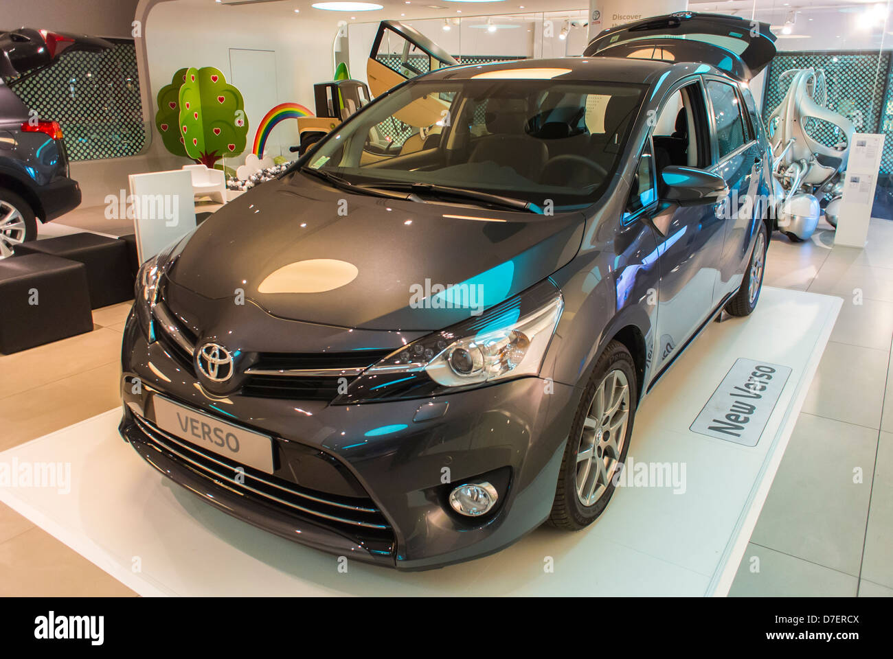 """Paris, France, Toyota Corporation, New Car Showroom, Inside Store, """"Verso"""" Car, on Display Stock Photo"""