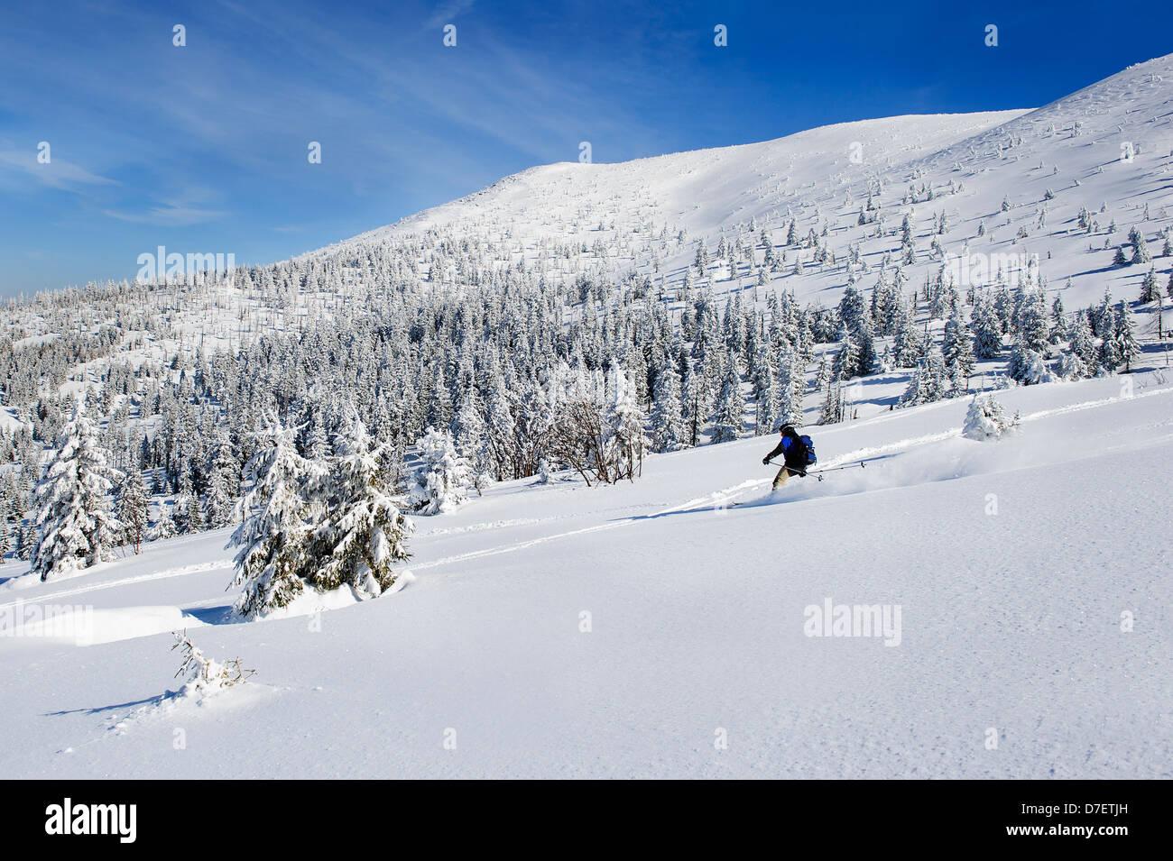 A skier downhill skiing in a winter landscape, Szklarska Poreba, Poland. - Stock Image