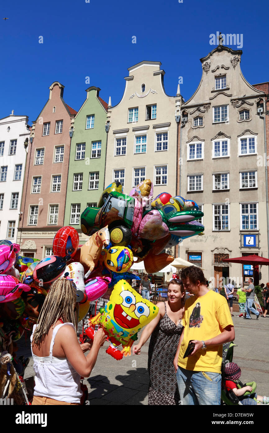 Gdansk, Langer Markt, Dlugi Tark, Long Market, balloons on sale, Poland Stock Photo