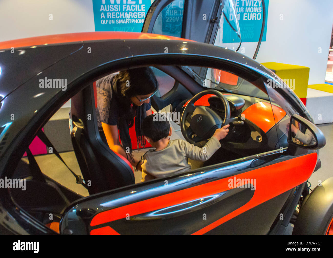 """Paris, France, Renault Corporation, New Car Showroom, Avenue Champs-Elysees, Inside Store, """"Twizy"""" Electric Car Stock Photo"""