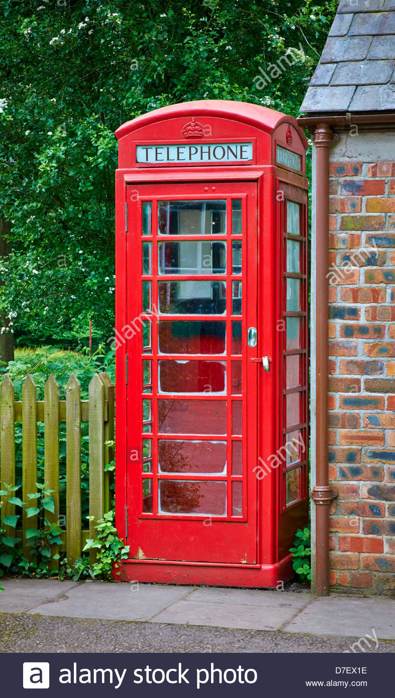 old traditional type red telephone box - Stock Image