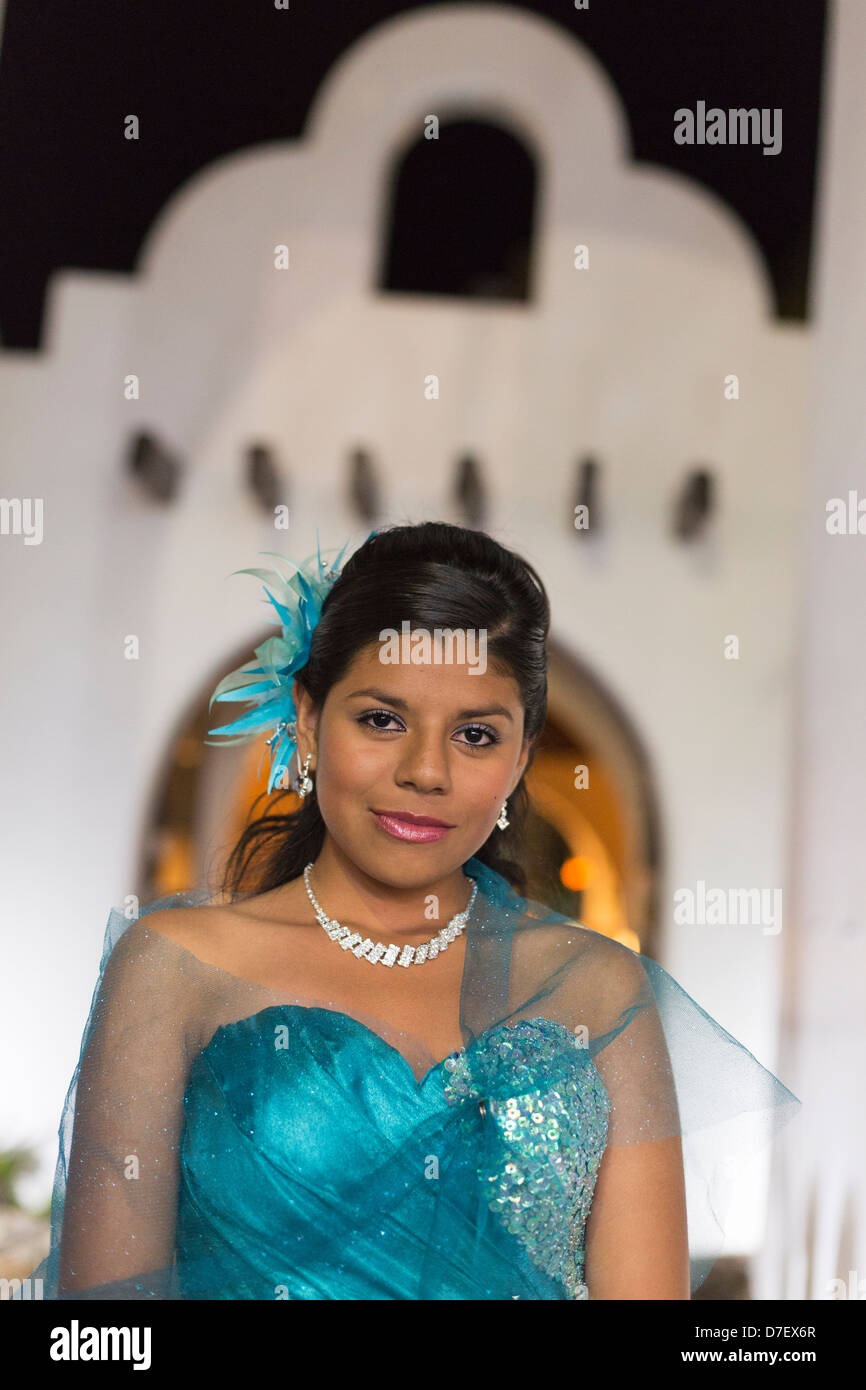 portrait of adolescent girl In Mexico, it is marked with the celebration of the Quinceañera, or 15th Birthday. - Stock Image