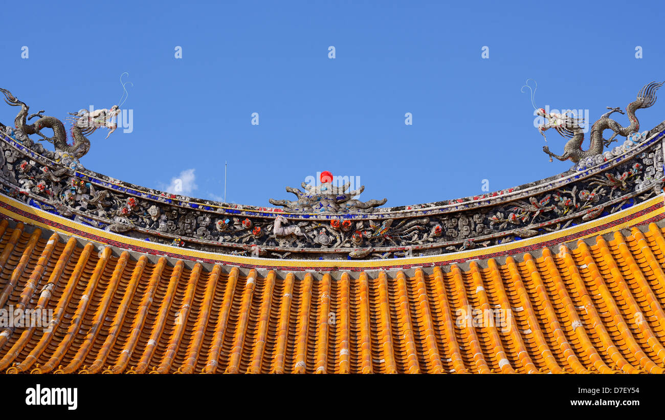 Roof of a chinese temple - Stock Image