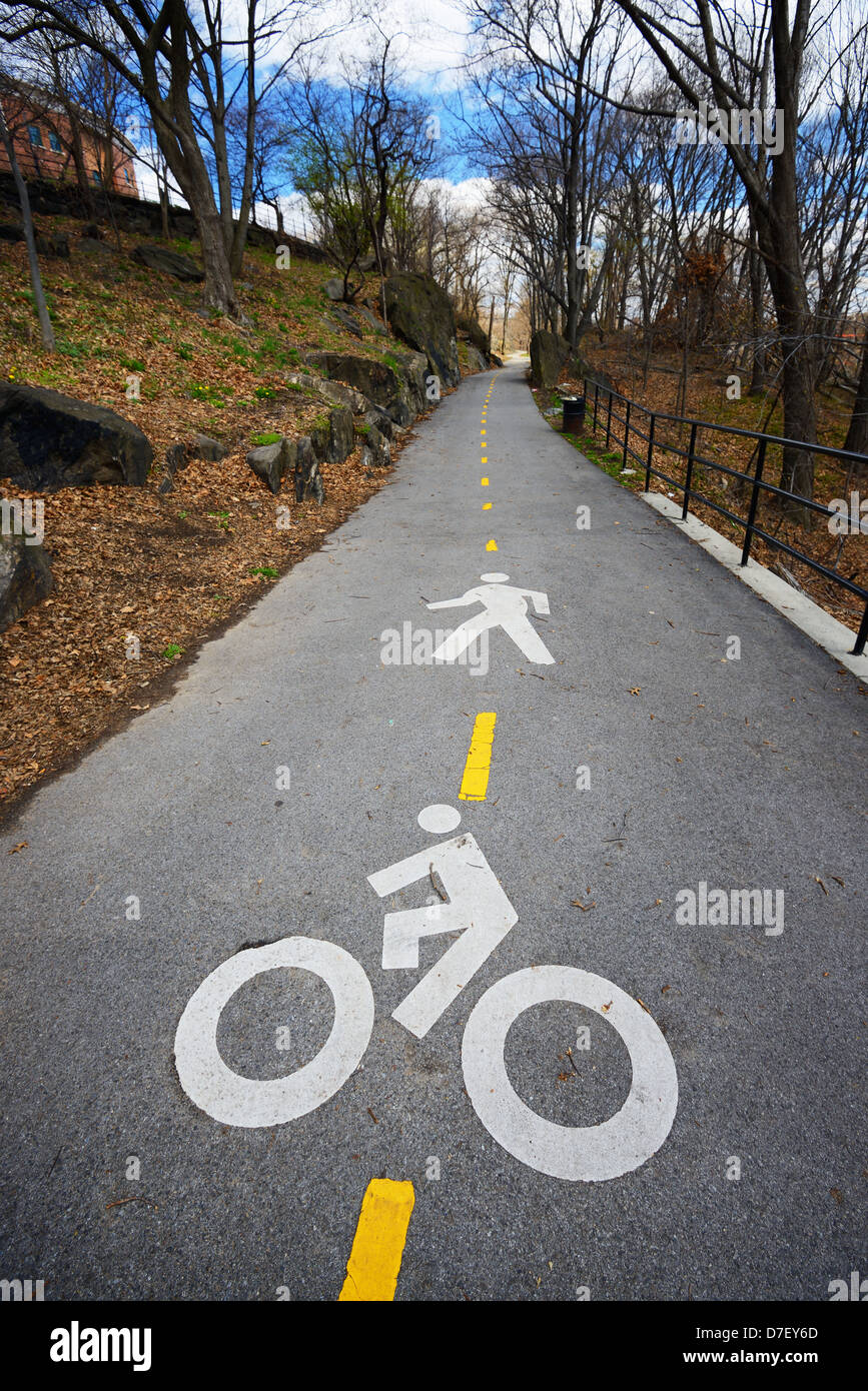 Street markings indicating passage for bicycles and pedestrians in the washington heights park - Stock Image