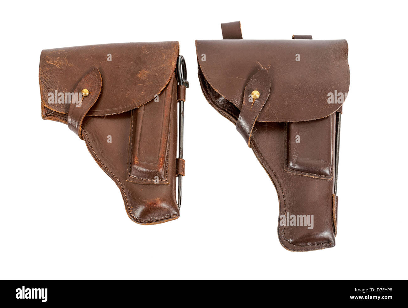Two handgun holsters isolated on white background - Stock Image