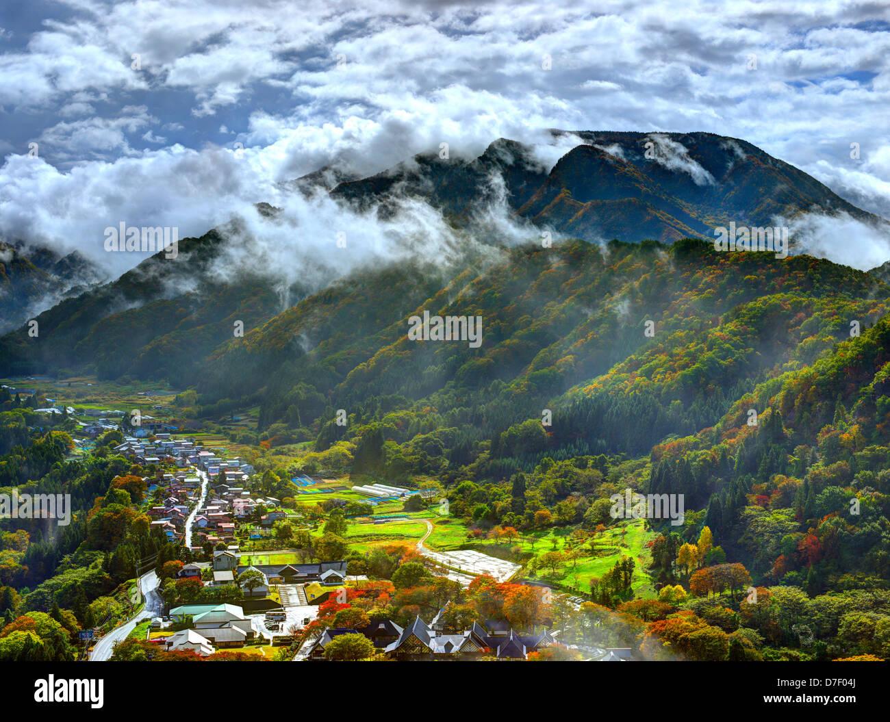 Valley in Yamadera, Yamagata, Japan. - Stock Image