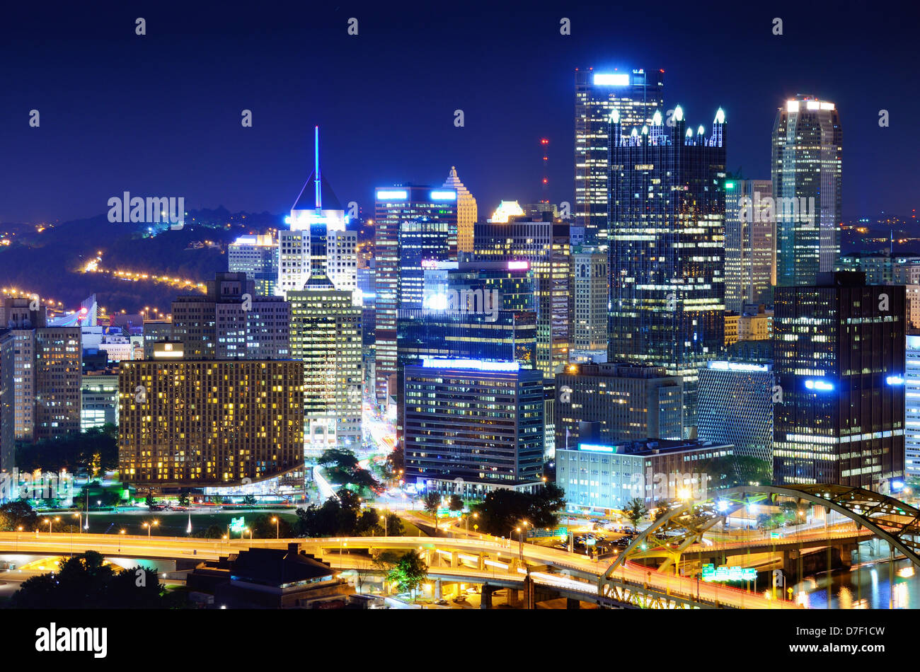 A Pittsburgh, Pennsylvania, USA cityscape. - Stock Image