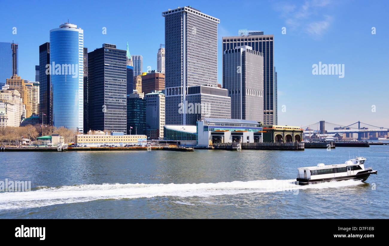 New York City skyline form the harbor. - Stock Image