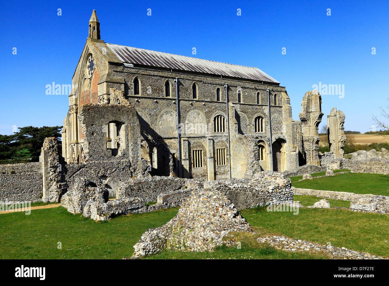 Binham Priory, Norfolk, Church and Monastic ruins, English medieval architecture, England UK, Benedictine Order - Stock Image