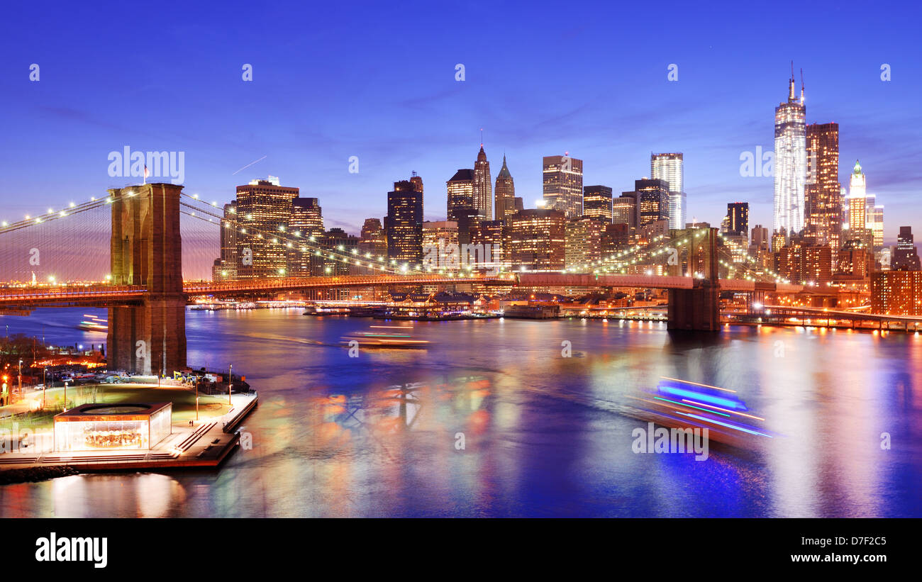 Lower Manhattan from above the East River in New York City. Stock Photo